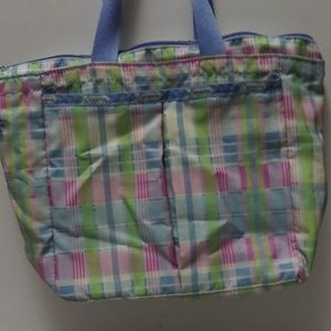 Lesportsac Bags - LeSportsac Tote Purse Pastel Plaid 2 pc